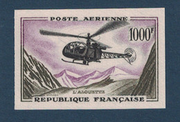 PEU COURANT TIMBRE NON-DENTELÉ POSTE AÉRIENNE N° 37 NEUF ** LUXE (1000F ALOUETTE) - France