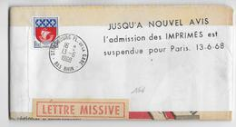 """1968 - GREVES ! - JOURNAL D'ALSACE Sous BANDE Avec """"LETTRE MISSIVE"""" (EXPRES) - IMPRIMES SUSPENDUE POUR PARIS !! - Strike Stamps"""