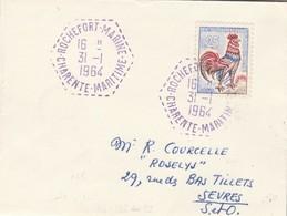 Lettre Mignonnette Cachet Violet ROCHEFORT MARINE Charente Maritime 31/1/1964 Verso Rochefort 17/2/1964 !!! - Marcophilie (Lettres)