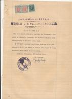 1945 POLLENA TROCCHIA NAPOLI DOCUEMENTO CON MARCA DA BOLLO PESI MISURA MARCHIO 3 LIRE  INTERA - Mozambico