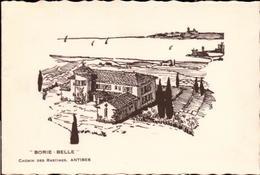 "ANTIBES. Cpsm Double Illustrée.  - ""BORIE - BELLE"" Chemin Des Rastines.   (scans Recto-verso) - Antibes"