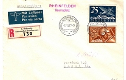 Schweiz-Suisse 1937: RHEINFELDEN Kasinoplatz 3.IV.37 AUTOMOBIL-POSTBUREAU Zu F 5+6 Mi 180+181 Yv PA 5+6 (Zu CHF 125.00) - Poste Aérienne