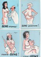 Illustrateur ALEXANDRE Série De 5 Cartes Erotiques Sur Les SEINS....(série De 1970) - Alexandre