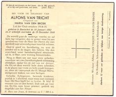 Devotie Doodsprentje Overlijden - Oudstrijder Alfons Van Tricht - Booischot 1892 - 1949 - Décès