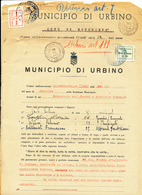 1945 URBINO 2 DOCUMENTI CON ARCHE MUNICIPALI MUNICIPAL REVENUE - Mozambico