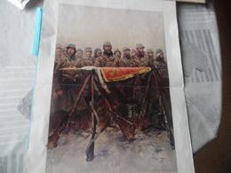 """GUERRE DE 1914-1918  -  """"LA GARDE DU DRAPEAU""""  - Aquarelle De GEORGES SCOTT - Documents"""