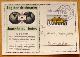 Schweiz Suisse 1937: BPK CPI (Variante GRÜN / Variété VERT) 1er JOURNÉE DU TIMBRE 5.XII.1937 1.TAG DER BRIEFMARKE BERN - Giornata Del Francobollo