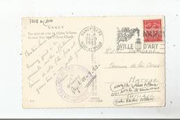 NANCY (54) CARTE AVEC CACHET MILITAIRE DU 118 E BATAILLON DE TRANSMISSIONS 1953 (TIMBRE FRANCHISE MILITAIRE) - Marcophilie (Lettres)