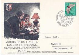 "Schweiz Suisse PJ 1953: CPI ""Philateliste"" Zu WI 149 Mi 589 Yv 540 O GENÈVE 6.XII.1953 JOURNÉE DU TIMBRE  (Zu CHF 14.00) - Giornata Del Francobollo"