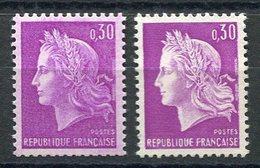 RC 15554 FRANCE N° 1536 - 0,30 CHEFFER VARIÉTÉ FOND LILAS ROSE NEUF ** MNH - 1967-70 Marianne (Cheffer)
