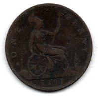Grande Bretagne  -  1 Penny 1891  -  état  B - 1816-1901: 19. Jh.