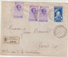 """ITALIE : REC . DE """" IMPERIA """" . AFFRANCHISSEMENT à 2,75 L . POUR PARIS . 1935 . - Storia Postale"""