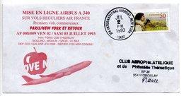Enveloppe / Mise En Ligne Airbus A 340 Air France  / Paris -  New York Et Retour  / 3 Juillet 1993 / Tâchée - Premiers Jours (FDC)