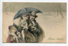 VIENNOISE 107 M.M  VIENNE Nr 282 Bonne Année Famille Sous Le Parapluie  Neige écrite En 1907 - Vienne