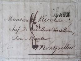 Lettre Bordeaux Vers Montpellier - Taxe Manuscrite + Marque Linéaire BORDEAUX - Février 1822 - 1801-1848: Precursors XIX