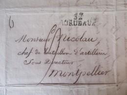 Lettre Bordeaux Vers Montpellier - Marque Linéaire BORDEAUX - 8 Mars 1822 - 1801-1848: Precursors XIX