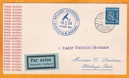 1936 - Enveloppe Par Avion Luftpost Ilmaposti De Helsinki Vers Stockholm Puis Blotberget, Suède - Premier Tour - Covers & Documents