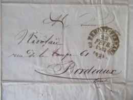 Lettre Clermont-Ferrand Vers Bordeaux - Cachet à Date Type 13 - 22 Février 1844 - 1801-1848: Precursors XIX