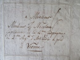 Lettre En Français - Naples Vers Verone - Marque Linéaire NAPOLI + CàD Verona - Mai 1812 - 1801-1848: Precursors XIX