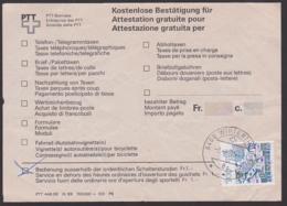 """Winterthur Kostenlose Bestätigung Für """"Bedienung Ausserhalb Der Schalterstunden"""" Postintern Service En Dehors 1991 - Lettres & Documents"""