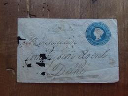 INDIA INGLESE - Regina Vittoria - Biglietto Postale Viaggiato Nel 1850 - Annulli Arrivo Retro + Spese Postali - India (...-1947)
