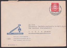 Berlin-Lichtenberg 24 Pf. Dienstpost, DDR A9, 21.9.54, Vor Portosenkung Ab 1.10.54, SMS Stahl- Und Montagebau - Service