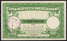 CUBA 1941, CUPON-RESPUESTAAMERICOESPANOL ReplyCoupon Reponse Antwortschein O HABANA 28.6.1941 Pdv! - Cuba