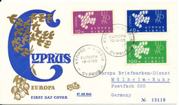 Cyprus Republic FDC 19-3-1962 EUROPA CEPT Complete Set Of 3 With Cachet - Europa-CEPT