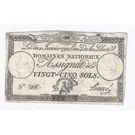 ASSIGNAT DE 25 SOLS - 04/01/1792 - DOMAINES NATIONAUX - TTB - Assignats