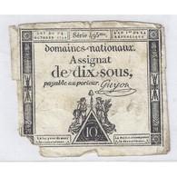 ASSIGNAT DE 10 SOUS - SERIE 495 - 24/10/1792 - DOMAINES NATIONAUX - TB+ - Assignats & Mandats Territoriaux