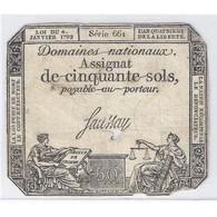ASSIGNAT DE 50 SOLS - SERIE 661 - 04/01/1792 - DOMAINES NATIONAUX - TB/TTB - Assignats & Mandats Territoriaux