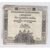 ASSIGNAT DE 15 SOLS - SERIE 150 - 23/05/1793 - TB - Assignats