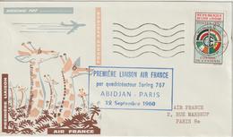 Cote D'Ivoire 1960 Première Liaison Air France Abidjan Paris - Côte D'Ivoire (1960-...)