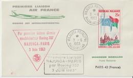 Madagascar 1963 Première Liaison Air France Majunga Paris - Madagascar (1960-...)