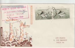 Sénégal 1960 Première Liaison Air France Dakar Paris. Cachet Dakar Sur Timbres Du Mali - Senegal (1960-...)