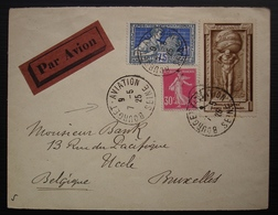 1925 Bourget Aviation , Lettre Pour La Belgique, Bel Affranchissement - Poste Aérienne