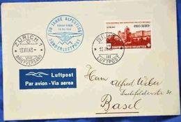 Schweiz Suisse 1943: PRO AERO 30 J.ALPENFLUG OSKAR BIDER Zu F36 Mi 422 Yv PA35 O BERN 13.VII.43 > ZÜRICH (Zu CHF 22.00) - Oblitérés