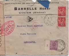 FRANCE  ENVELOPPE TIMBREE BARRELLE HENRI  COURS  AVEC CACHET DE CENSURE  ET TAXE DU MAROC  1941 - France