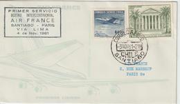 Chili 1961 Première Liaison Air France Santiago Paris - Chili