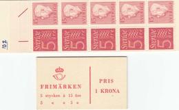 Schweden 1957 - Ziffer/Koenig Gustav VI, Michel MH 1aa, MNH** - 1951-80