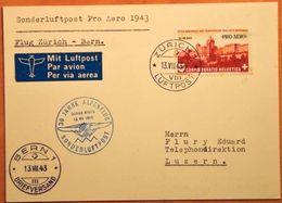 Schweiz Suisse 1943: PRO AERO 30 J.ALPENFLUG OSKAR BIDER Zu F36 Mi 422 Yv PA35 O ZÜRICH 13.VII.43 > BERN  (Zu CHF 22.00) - Oblitérés