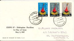 Ethiopia FDC 2-5-1967 EXPO 67 Ethiopian Pavilion Complete Set Of 3 Sent To Denmark - Ethiopia
