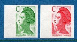 France Non Dentelé - YT N° 2615 C Et 2616 C - Neuf Sans Charnière - 1990 - France
