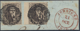 """Médaillon - N°3 X2 (dont Un Avec Grand BDF) Sur Fragment Obl P66 """"Jodoigne"""" çàd 21/10/50 . Superbe ! - 1849-1850 Médaillons (3/5)"""