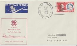 Etats Unis 1963 Première Liaison Air France New York Paris Nice - 3c. 1961-... Cartas