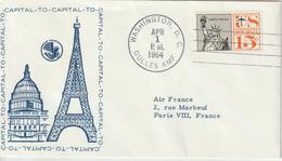 Etats Unis 1964 Première Liaison Air France Washington Paris - 3c. 1961-... Cartas