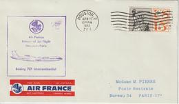 Etats Unis 1962 Première Liaison Air France Houston Paris - 3c. 1961-... Cartas