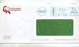 Lettre Flamme Ema Belfort Territoire Entete Conseil General Theme Lion - Postmark Collection (Covers)
