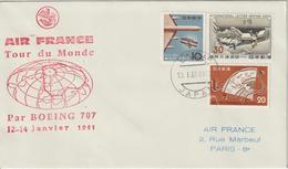 Japon 1961 Tour Du Monde Air France Tokyo - Cartas
