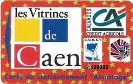 CARTE DE STATIONNEMENT A BANDE MAGNÉTIQUE VILLE DE CAEN 14  CALVADOS LES VITRINES AVANTAGE - France